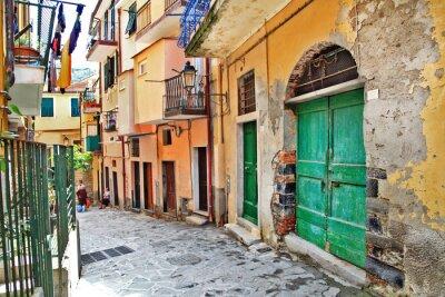Poster charmanten mediterranen Straßen, Cinque Terre, Italien
