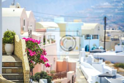 Charming Ansicht der kleinen Dorf in Santorin, Griechenland