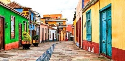 Charming colorful old streets of Los llanos de Aridane. La Palma, Canary islands