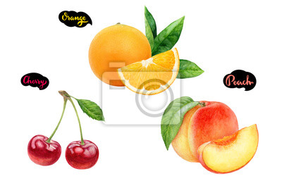 Poster Cherry peach orange set fruit watercolor isolated on white background