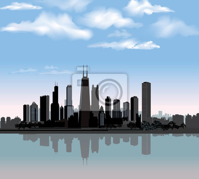 Chicago Skyline der Stadt detaillierte Silhouette mit Reflexion im Wasser. Abbildung