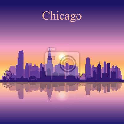 Chicago Stadt Skyline Silhouette Hintergrund