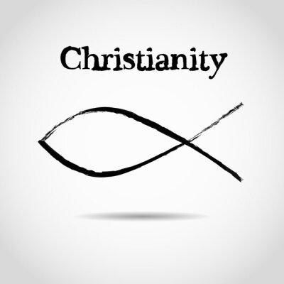 Poster Christliche Fisch-Symbol. Logo
