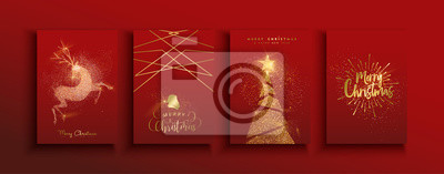 Poster Christmas and new year gold glitter luxury card set