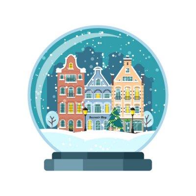 Christmas snow globe with Amsterdam houses. Isolated vector illusrtation