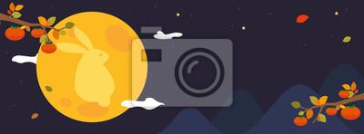 Poster Chuseok festival banner vector illustration. Mid-Autumn festival header design. Persimmon tree with full moon