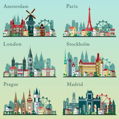 Poster Cities skylines set. Vector flat landscapes. European cities cityscapes