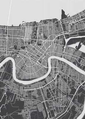 Poster City map New Orleans, monochrome detailed plan, vector illustration