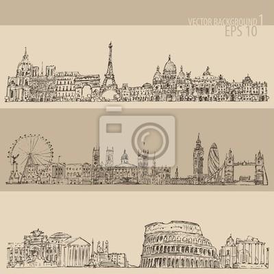 city set (London, Paris, Rome) engraved illustration