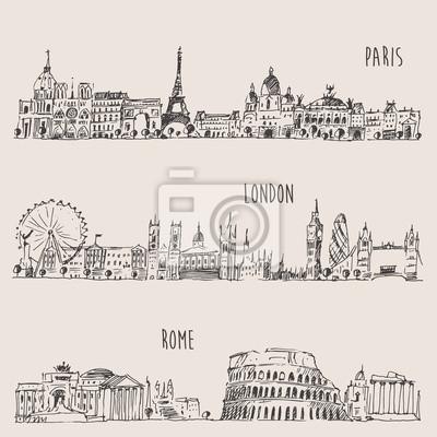 City Set London, Paris, Rome Engraved Illustration
