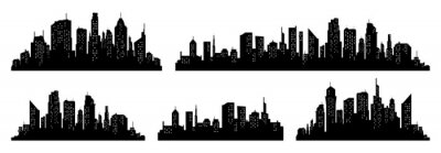 Poster City silhouette vector set. Panorama city background. Skyline urban border collection.