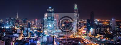 Poster Cityscape of Ho Chi Minh City, Vietnam at night