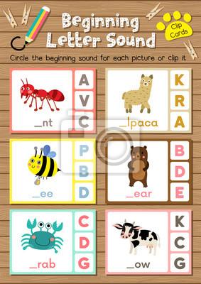 Clip-karten passenden spiel der anfangsbuchstabe a, b, c für ...