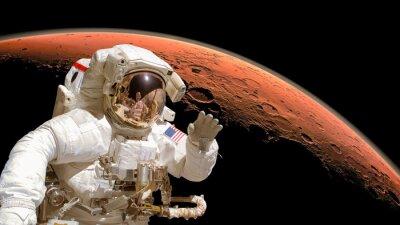 Poster Close up eines Astronauten im Weltraum, Planeten Mars in den Hintergrund. Elemente des Bildes von der NASA eingerichtet