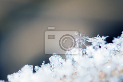 Close up image of frost sculptures and snowflakes in nature