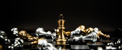 Poster Close up king chess standing winner to fighting challenge battle on chess board concepts of leadership and business strategy and human personal organization risk management.
