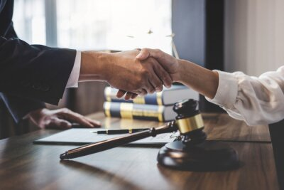 Poster Close-up Of Lawyer And Customer Shaking Hands On Table