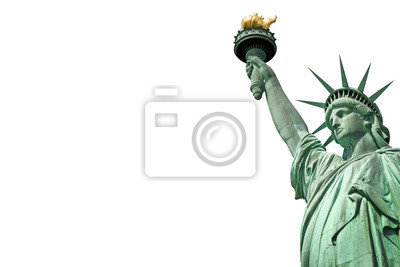 Poster Close up of the Statue of Liberty in New York, USA. Isolated on white background with copy space