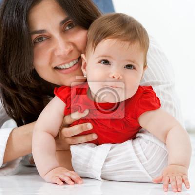 Close up Portrait von Mutter und Baby.