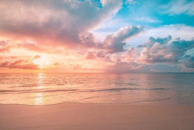 Poster Closeup sea sand beach. Panoramic beach landscape. Inspire tropical beach seascape horizon. Orange and golden sunset sky calmness tranquil relaxing sunlight summer mood. Vacation travel holiday banner