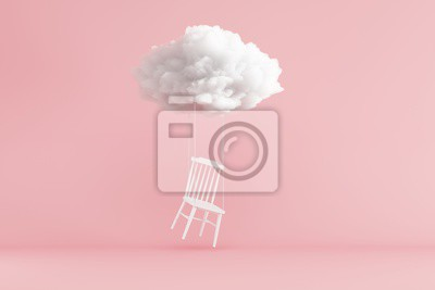 Poster Cloud Floating above white chair on pink background. Minimal idea concept. 3D render.