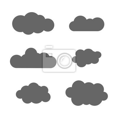 Cloud-icons festgelegt. graue kontur isoliert auf weißem hintergrund ...