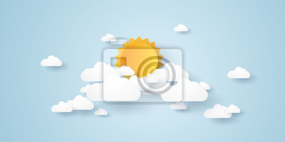 Poster Cloudscape, blauer Himmel mit Wolken und Sonne, Papierkunstart