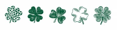 Poster Clover set, hand drawn style. Patrick day.Vector illustration.
