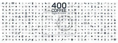 Poster Coffee details and tools 400 isolated icons set on white background. Logo and sign for coffee shop and house