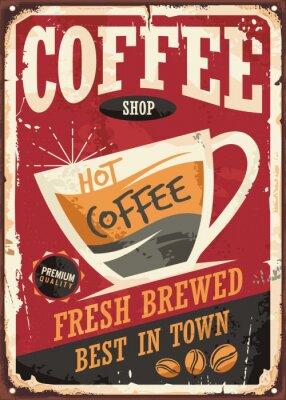 Poster Coffee-Shop Retro-Zinn-Zeichen-Design mit Kaffeetasse auf rotem Hintergrund
