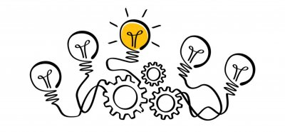 Poster Cogwheels chaos brain line pattern. Cog, gear mechanism settings tools, Comic electric lamp idea doodle. FAQ, business loading, order concept. Fun vector light bulb icon or sign ideas. Brilliant light