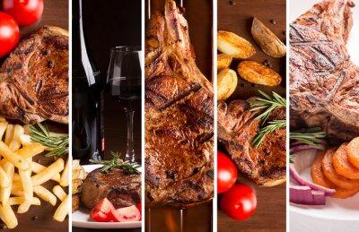 Poster Collage aus Fotos von gegrilltem Fleisch