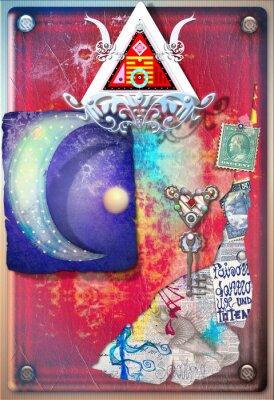 Poster Collage Hintergrund mit farbigen, alchemistischen Fetzen, Sternenhimmel und