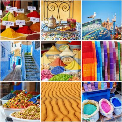 Collage mit bunten marokkanischen Fotos