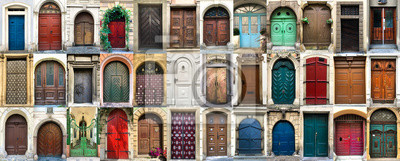 Poster Collage of 36 colourful front doors