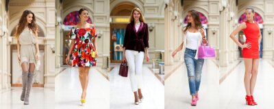 Poster Collage of five different young women in bright fashionable clothes