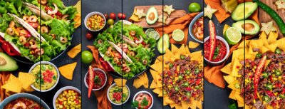 Poster Collage of Hispanic mexican food on dark background