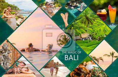 Poster Collage von Fotos von der schönen Bali-Insel in Indonesien