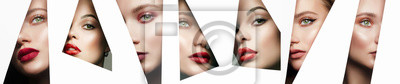Poster collage. young beautiful women. female faces with makeup