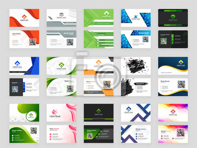 Poster Collection of 15 horizontal Business card template design with front and back presentation.