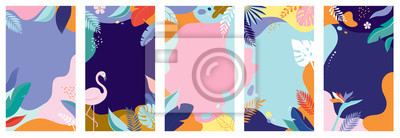 Poster Collection of abstract background designs - summer sale, social media promotional content. Vector illustration