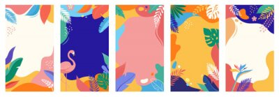 Poster Collection of abstract background designs, summer sale, social media promotional content. Vector illustration