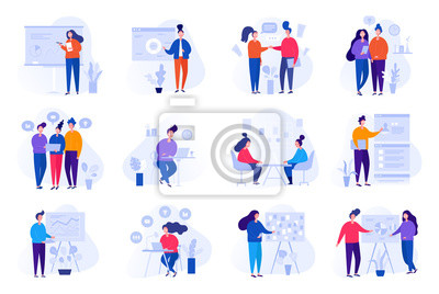 Poster Collection of illustrations with people working in the office, making a presentation, negotiating and discussing business issues, developing ideas