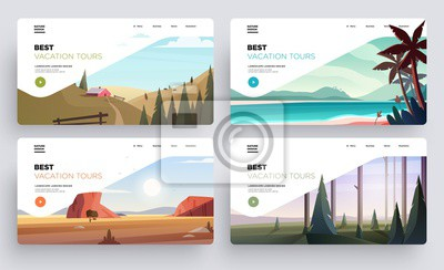 Poster Collection of landing page templates. Modern landscape backgrounds. Best vacation tours commercial