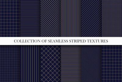 Poster Collection of vector seamless geometric patterns. Dark grid striped backgrounds. Endless unusual linear textures