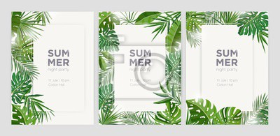 Poster Collection of vertical summer backgrounds with frames or borders made of green tropical palm leaves or jungle exotic foliage and place for text. Seasonal colorful realistic vector illustration.