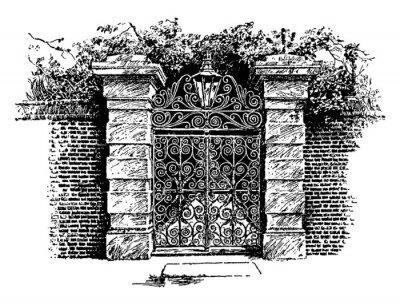 Poster Colonial Gate, Charleston,  vintage engraving.