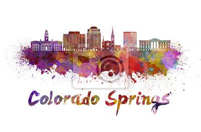 Colorado Springs V2 Skyline in Wasserfarbe