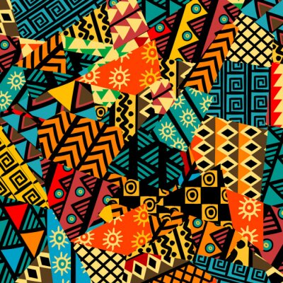 Poster Colored african patchwork background with african motifs