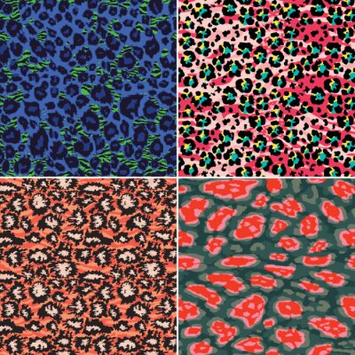 Colorful abstract leopard zebra skin collection  funky vector seamless pattern